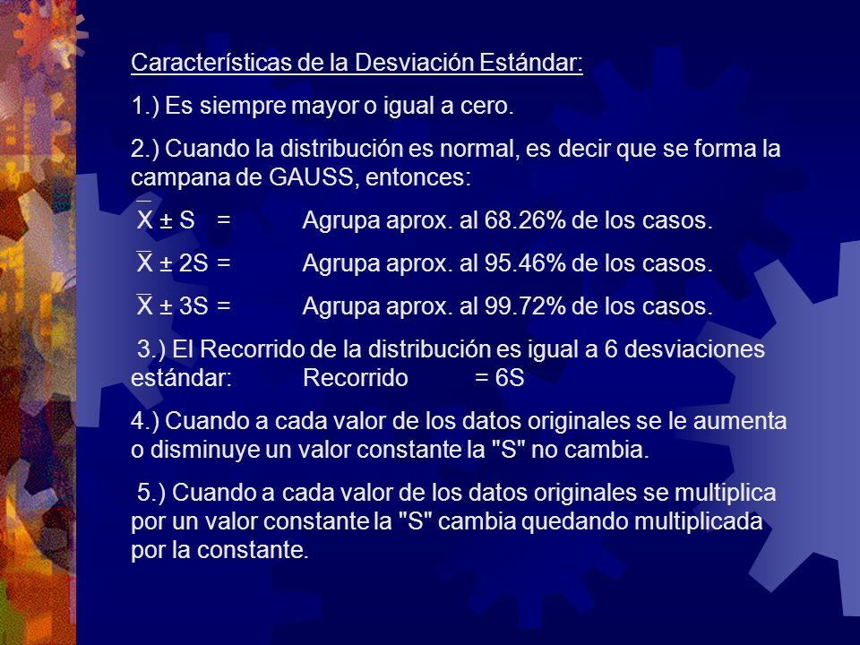 Características de la Desviación Estándar: 1.) Es siempre mayor o igual a cero. 2.) Cuando la distribución es normal, es decir que se forma la campana