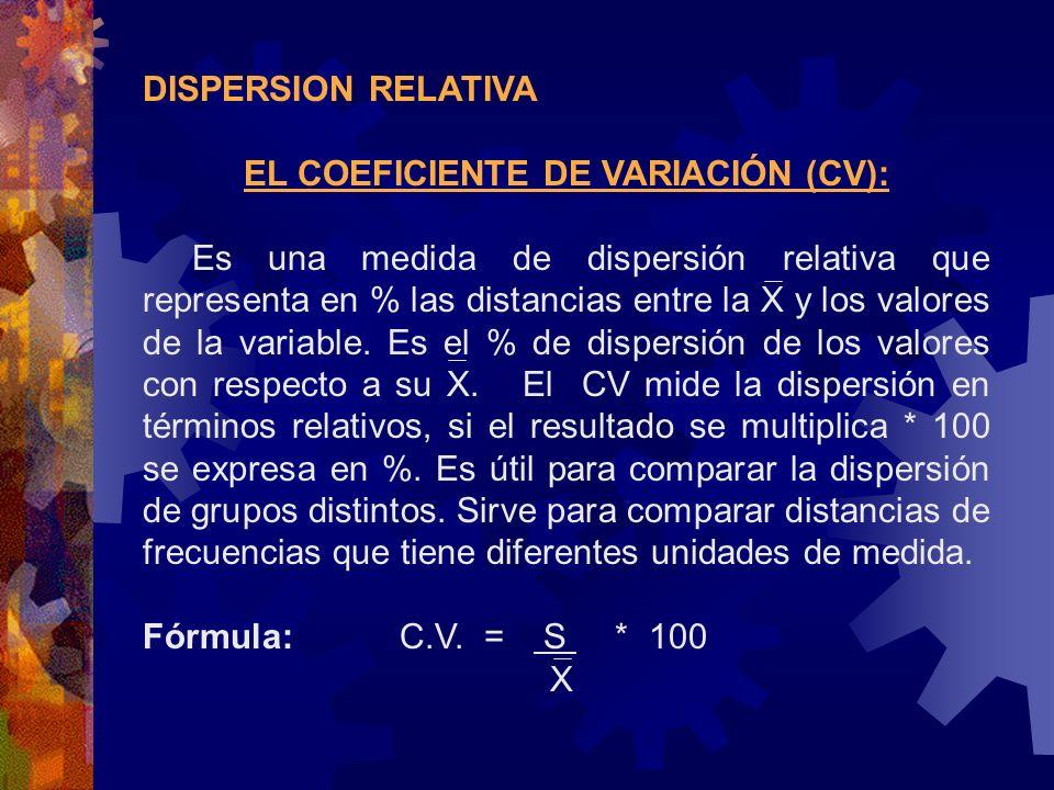 DISPERSION RELATIVA EL COEFICIENTE DE VARIACIÓN (CV): Es una medida de dispersión relativa que representa en % las distancias entre la X y los valores