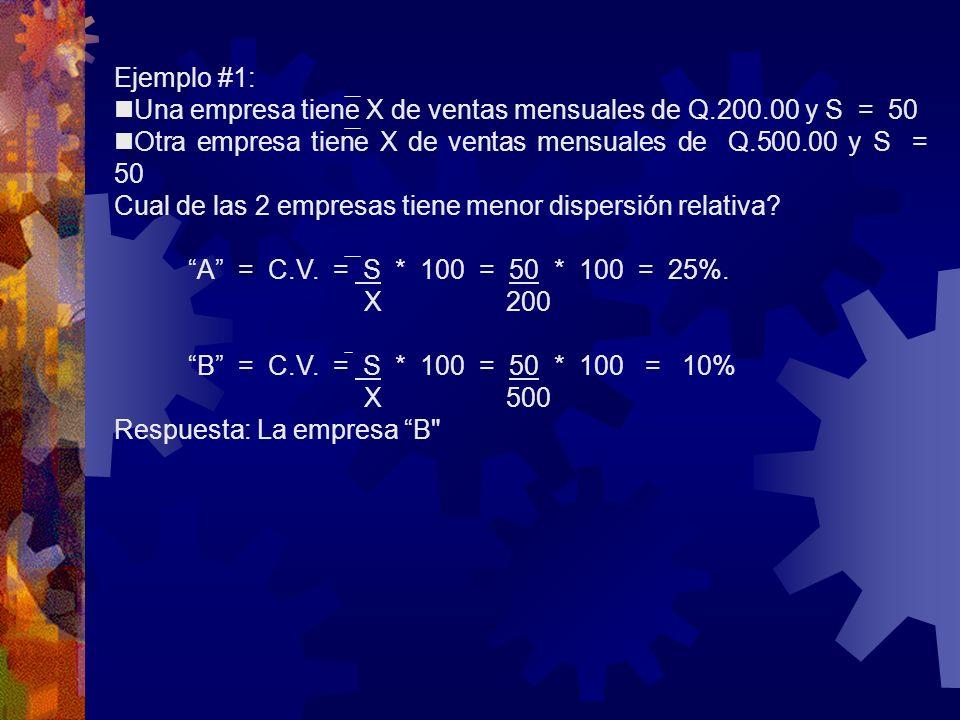 Ejemplo #1: Una empresa tiene X de ventas mensuales de Q.200.00 y S = 50 Otra empresa tiene X de ventas mensuales de Q.500.00 y S = 50 Cual de las 2 e