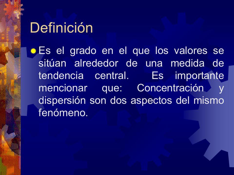 Definición Es el grado en el que los valores se sitúan alrededor de una medida de tendencia central. Es importante mencionar que: Concentración y disp