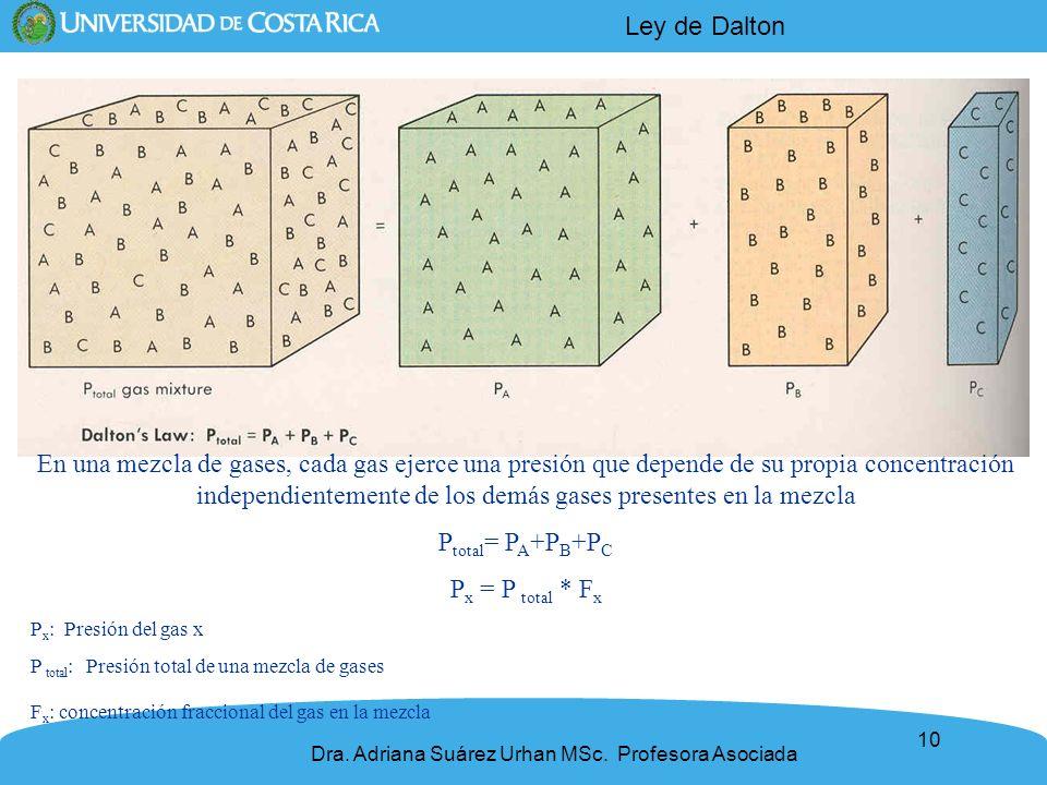 10 En una mezcla de gases, cada gas ejerce una presión que depende de su propia concentración independientemente de los demás gases presentes en la me