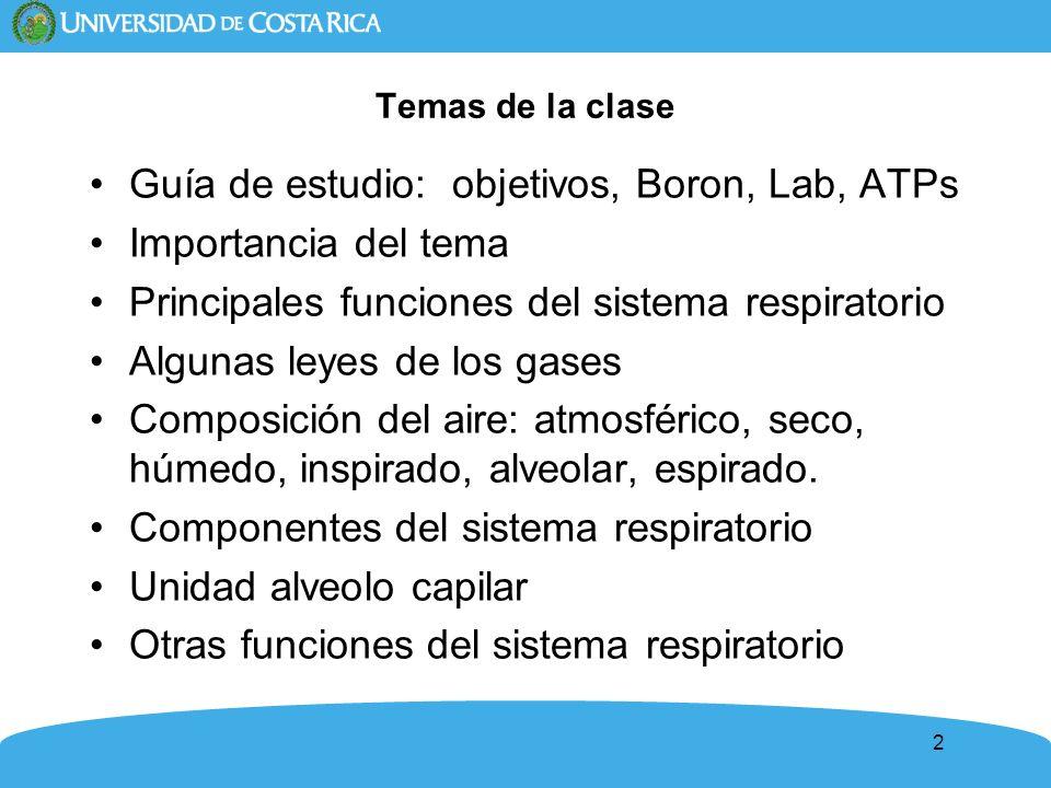 2 Temas de la clase Guía de estudio: objetivos, Boron, Lab, ATPs Importancia del tema Principales funciones del sistema respiratorio Algunas leyes de