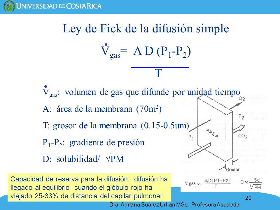 20 Ley de Fick de la difusión simple V gas = A D (P 1 -P 2 ) T V gas : volumen de gas que difunde por unidad tiempo A: área de la membrana (70m 2 ) T: