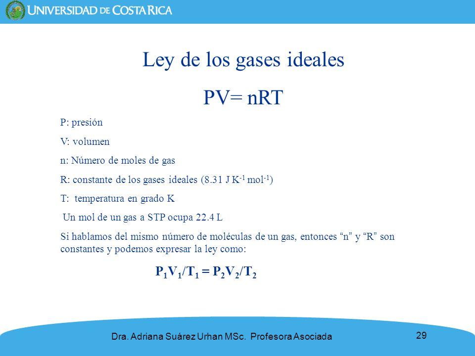 29 Ley de los gases ideales PV= nRT P: presión V: volumen n: Número de moles de gas R: constante de los gases ideales (8.31 J K -1 mol -1 ) T: tempera