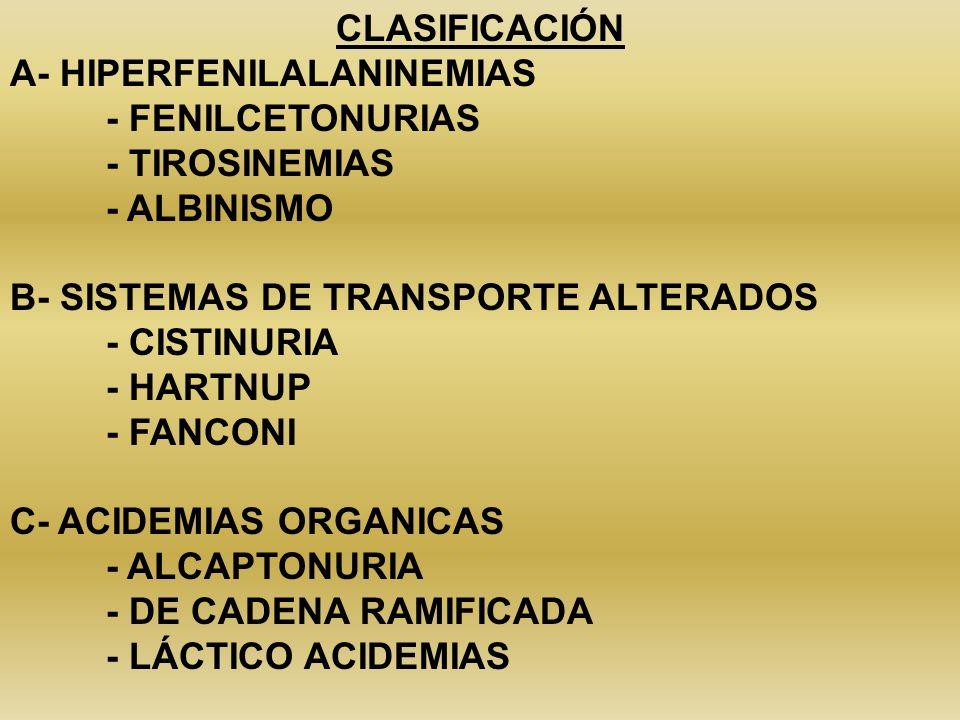 CLASIFICACIÓN A- HIPERFENILALANINEMIAS - FENILCETONURIAS - TIROSINEMIAS - ALBINISMO B- SISTEMAS DE TRANSPORTE ALTERADOS - CISTINURIA - HARTNUP - FANCO