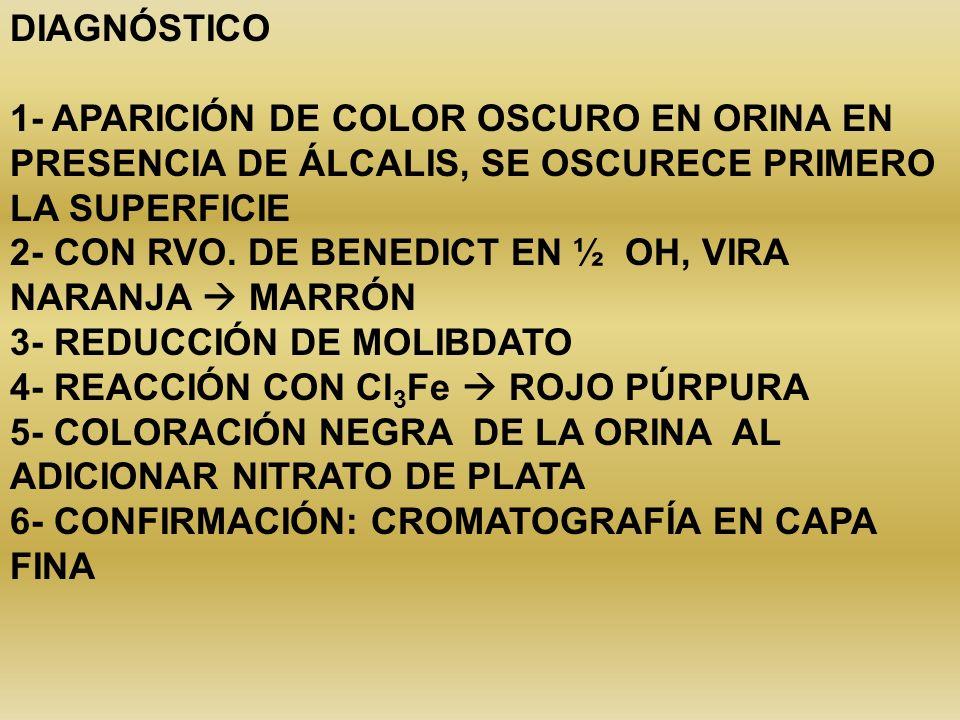 DIAGNÓSTICO 1- APARICIÓN DE COLOR OSCURO EN ORINA EN PRESENCIA DE ÁLCALIS, SE OSCURECE PRIMERO LA SUPERFICIE 2- CON RVO. DE BENEDICT EN ½ OH, VIRA NAR