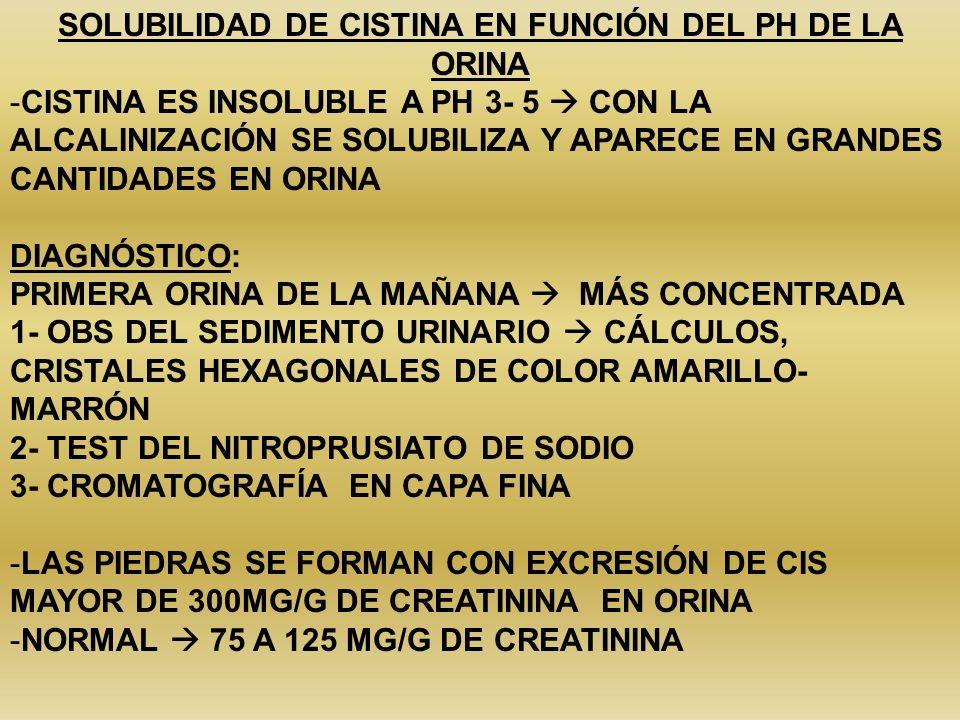 SOLUBILIDAD DE CISTINA EN FUNCIÓN DEL PH DE LA ORINA -CISTINA ES INSOLUBLE A PH 3- 5 CON LA ALCALINIZACIÓN SE SOLUBILIZA Y APARECE EN GRANDES CANTIDAD