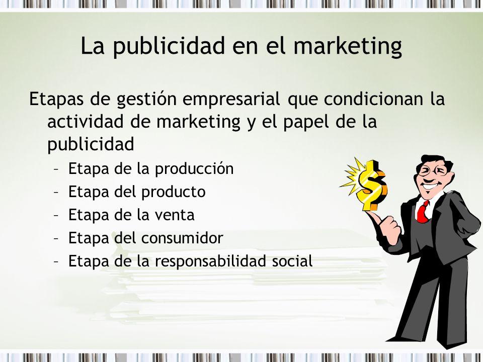 La publicidad en el marketing Etapas de gestión empresarial que condicionan la actividad de marketing y el papel de la publicidad –Etapa de la producc