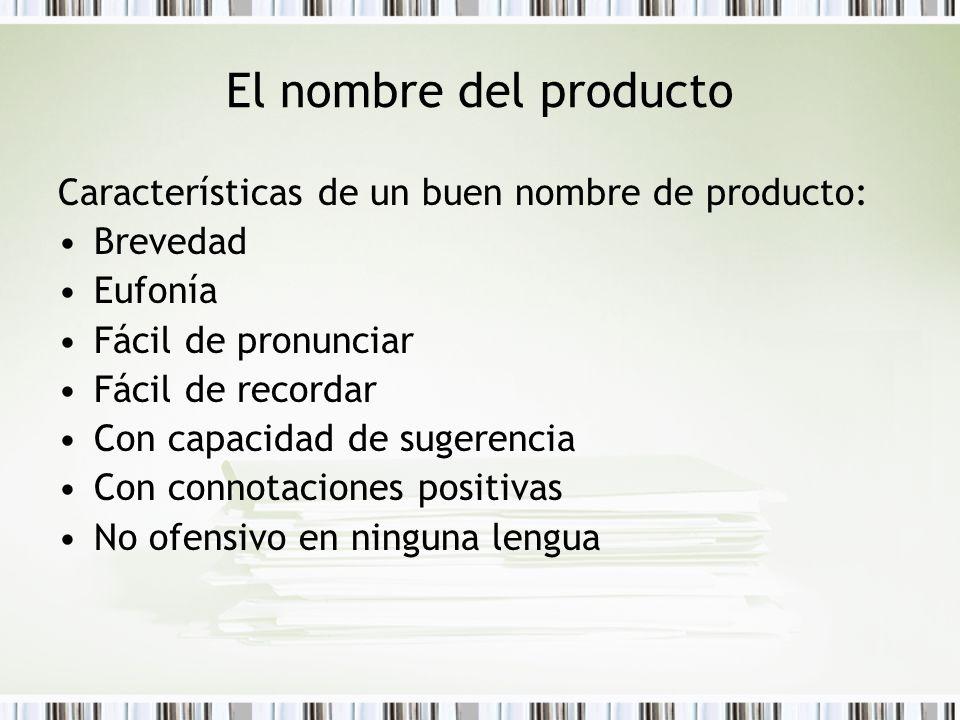 El nombre del producto Características de un buen nombre de producto: Brevedad Eufonía Fácil de pronunciar Fácil de recordar Con capacidad de sugerenc