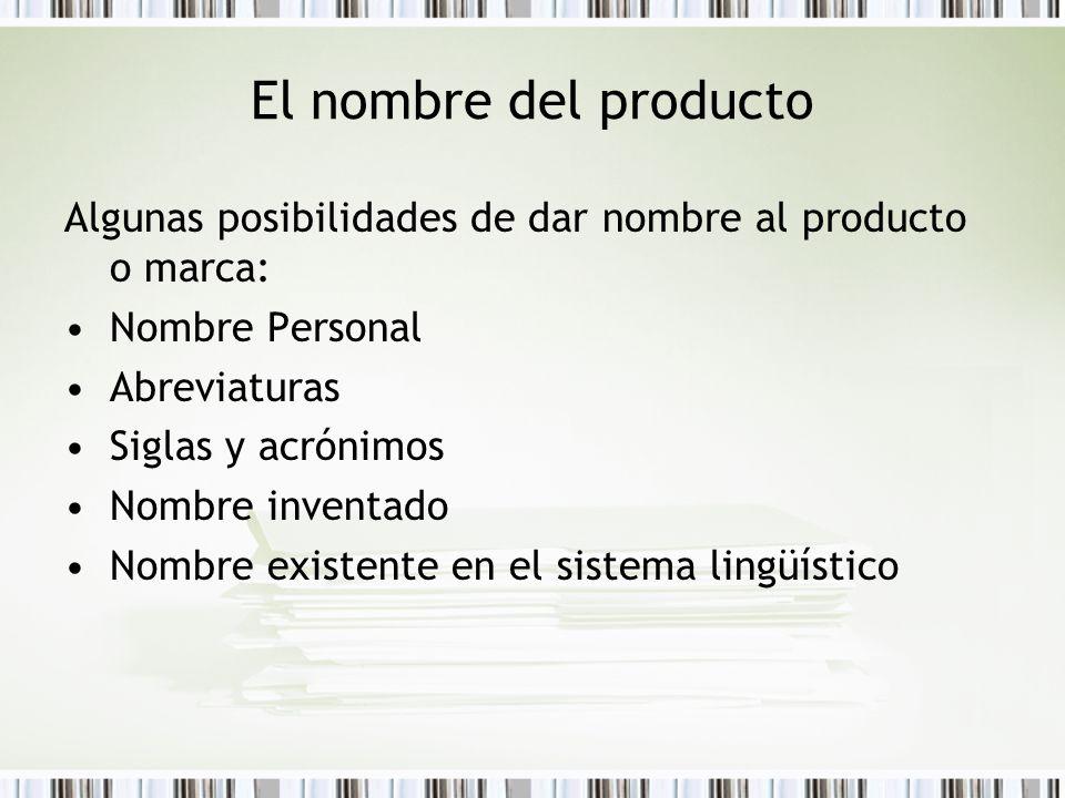 El nombre del producto Algunas posibilidades de dar nombre al producto o marca: Nombre Personal Abreviaturas Siglas y acrónimos Nombre inventado Nombr
