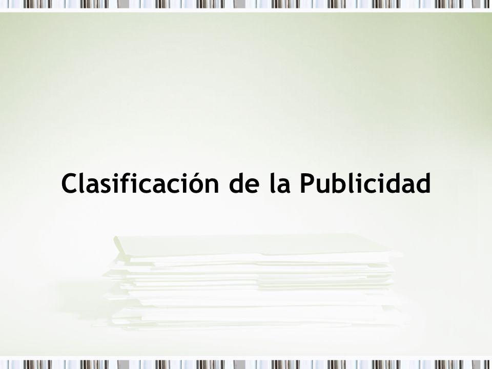 Clasificación de la Publicidad