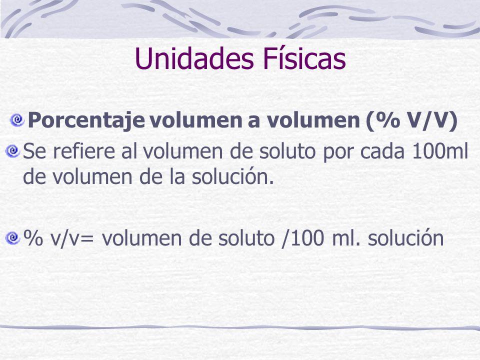 Unidades Físicas Porcentaje volumen a volumen (% V/V) Se refiere al volumen de soluto por cada 100ml de volumen de la solución. % v/v= volumen de solu