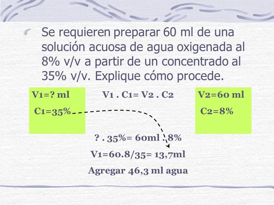 Se requieren preparar 60 ml de una solución acuosa de agua oxigenada al 8% v/v a partir de un concentrado al 35% v/v. Explique cómo procede. V1. C1= V