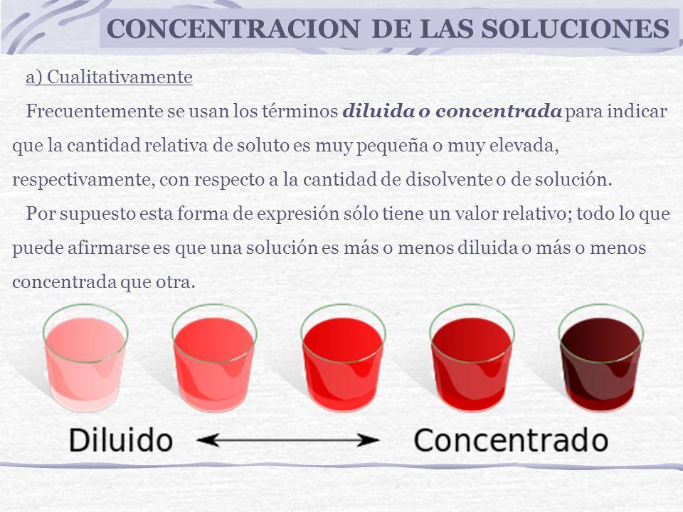CONCENTRACION DE LAS SOLUCIONES a) Cualitativamente Frecuentemente se usan los términos diluida o concentrada para indicar que la cantidad relativa de