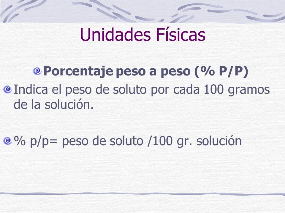 Unidades Físicas Porcentaje peso a peso (% P/P) Indica el peso de soluto por cada 100 gramos de la solución. % p/p= peso de soluto /100 gr. solución