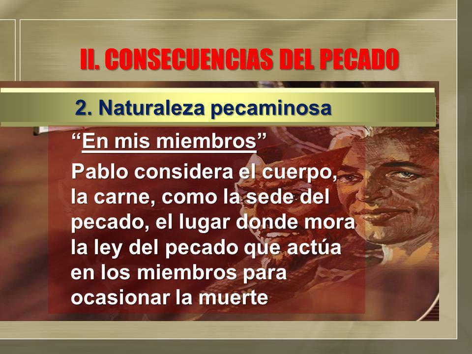 II. CONSECUENCIAS DEL PECADO En mis miembrosEn mis miembros Pablo considera el cuerpo, la carne, como la sede del pecado, el lugar donde mora la ley d