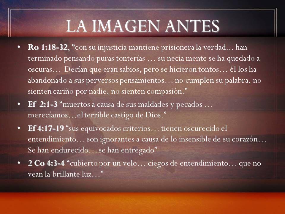 LA IMAGEN ANTES Ro 1:18-32,Ro 1:18-32, con su injusticia mantiene prisionera la verdad... han terminado pensando puras tonterías … su necia mente se h