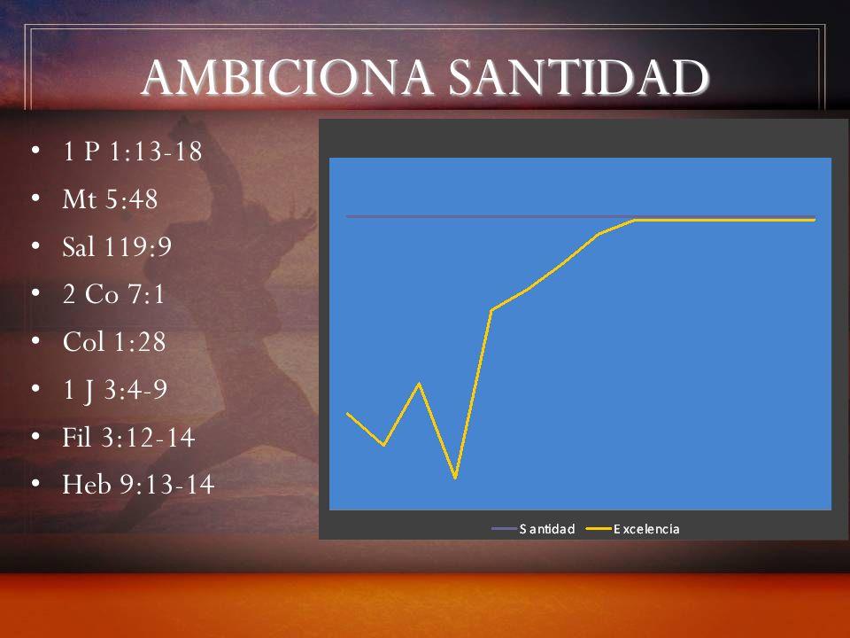 AMBICIONA SANTIDAD 1 P 1:13-18 Mt 5:48 Sal 119:9 2 Co 7:1 Col 1:28 1 J 3:4-9 Fil 3:12-14 Heb 9:13-14