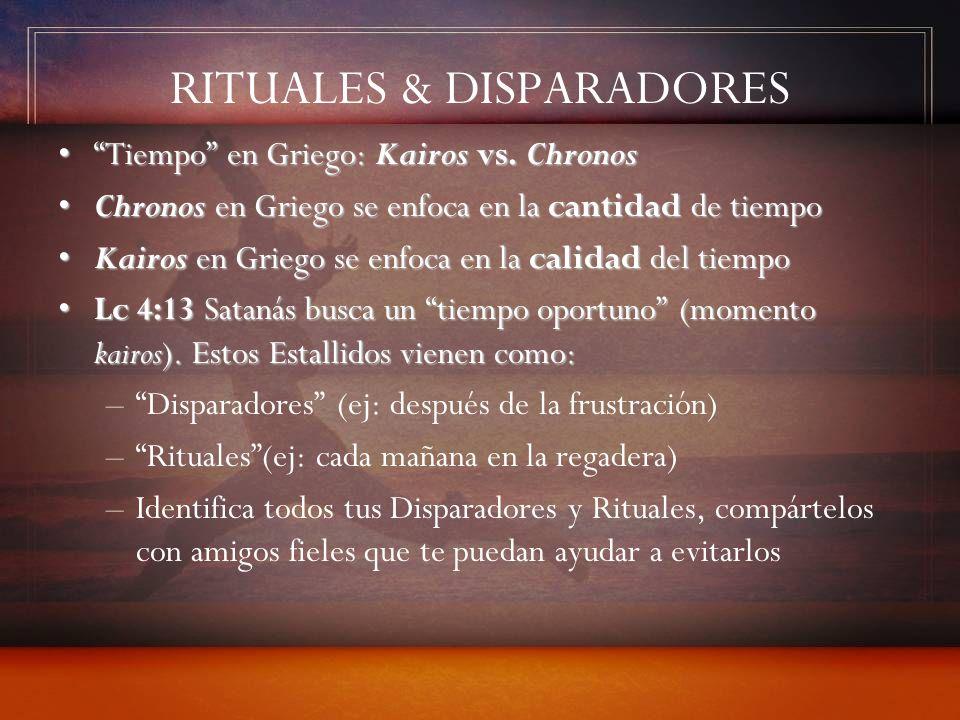 RITUALES & DISPARADORES Tiempo en Griego: Kairos vs. ChronosTiempo en Griego: Kairos vs. Chronos Chronos en Griego se enfoca en la cantidad de tiempoC