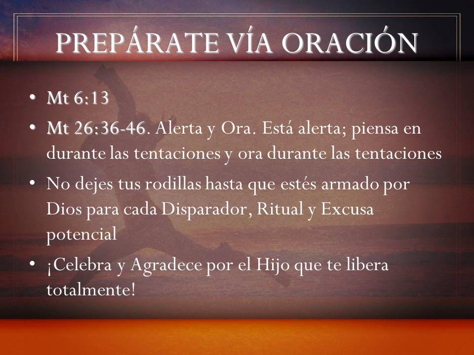 PREPÁRATE VÍA ORACIÓN Mt 6:13Mt 6:13 Mt 26:36-46Mt 26:36-46. Alerta y Ora. Está alerta; piensa en durante las tentaciones y ora durante las tentacione