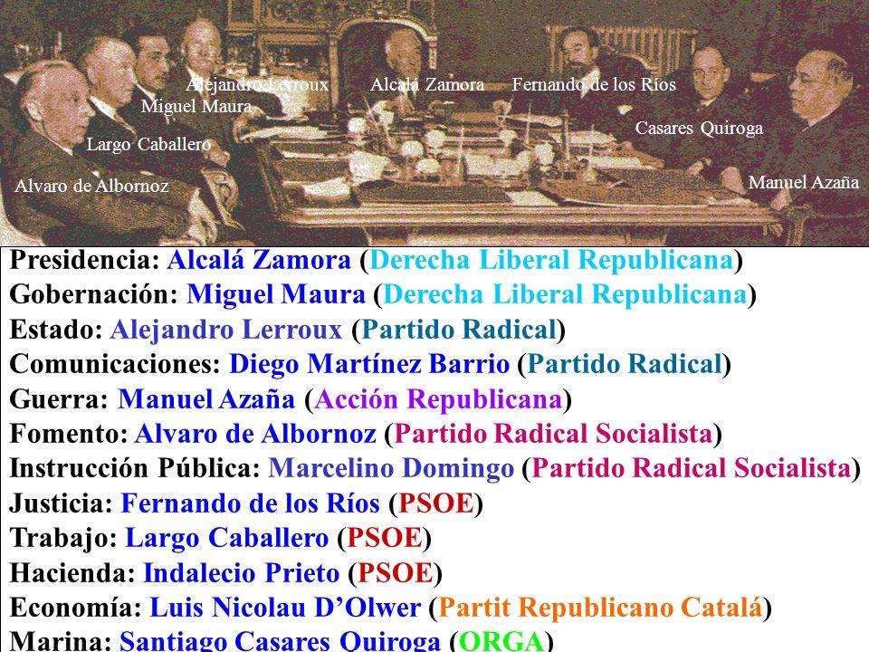 Presidencia: Alcalá Zamora (Derecha Liberal Republicana) Gobernación: Miguel Maura (Derecha Liberal Republicana) Estado: Alejandro Lerroux (Partido Ra