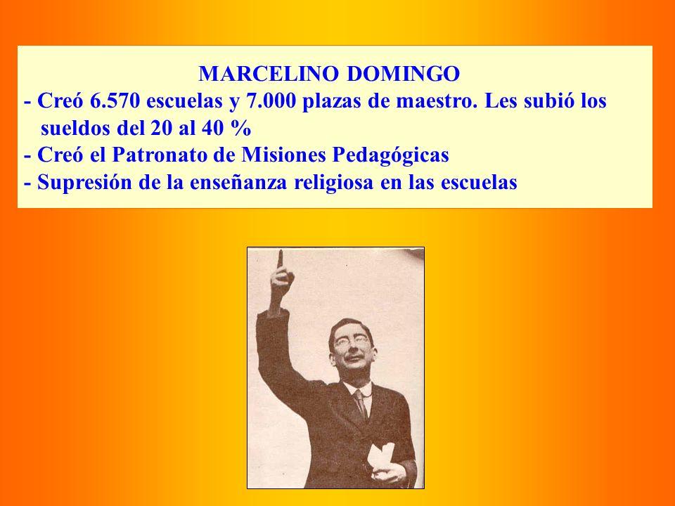 MARCELINO DOMINGO - Creó 6.570 escuelas y 7.000 plazas de maestro. Les subió los sueldos del 20 al 40 % - Creó el Patronato de Misiones Pedagógicas -