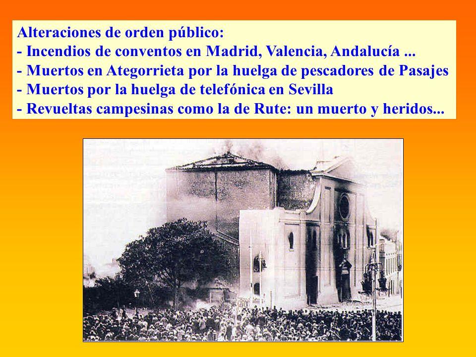 Alteraciones de orden público: - Incendios de conventos en Madrid, Valencia, Andalucía... - Muertos en Ategorrieta por la huelga de pescadores de Pasa