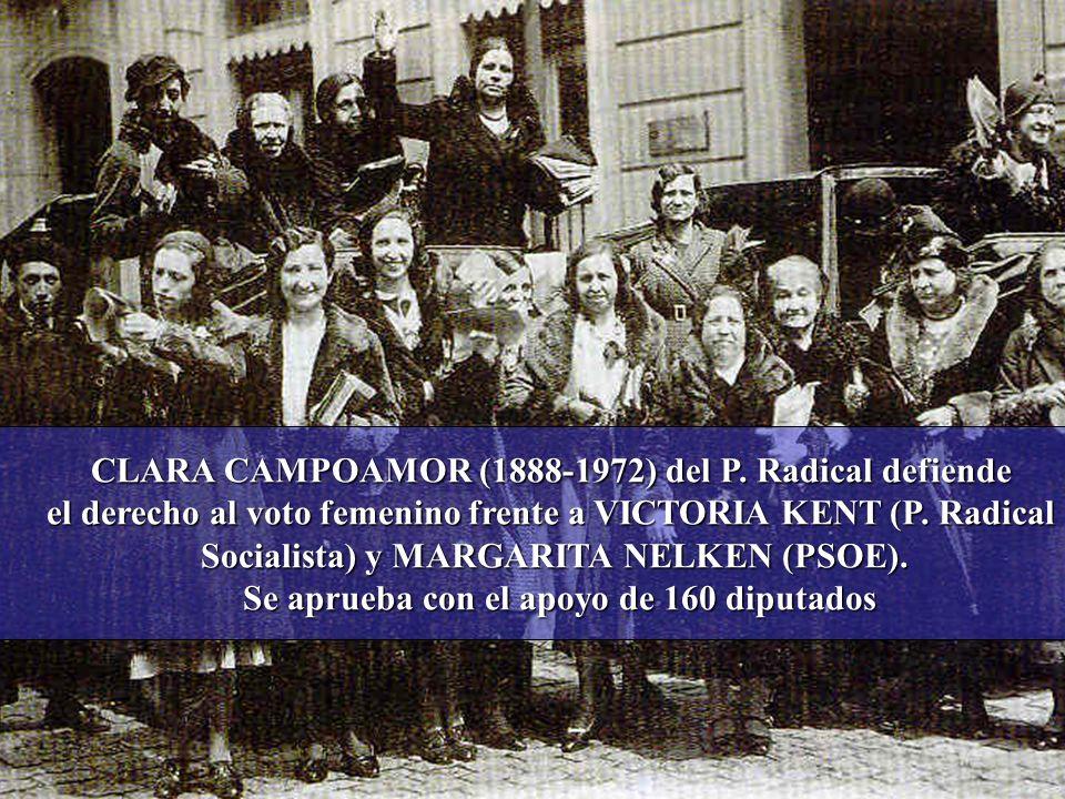 CLARA CAMPOAMOR (1888-1972) del P. Radical defiende el derecho al voto femenino frente a VICTORIA KENT (P. Radical Socialista) y MARGARITA NELKEN (PSO