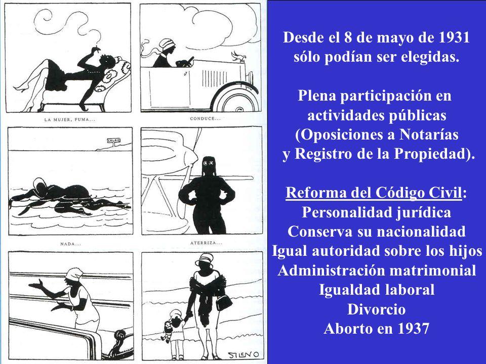 Desde el 8 de mayo de 1931 sólo podían ser elegidas. Plena participación en actividades públicas (Oposiciones a Notarías y Registro de la Propiedad).