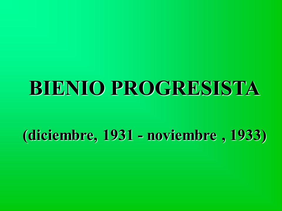 BIENIO PROGRESISTA (diciembre, 1931 - noviembre, 1933)