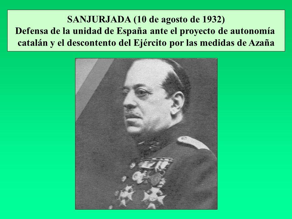 SANJURJADA (10 de agosto de 1932) Defensa de la unidad de España ante el proyecto de autonomía catalán y el descontento del Ejército por las medidas d