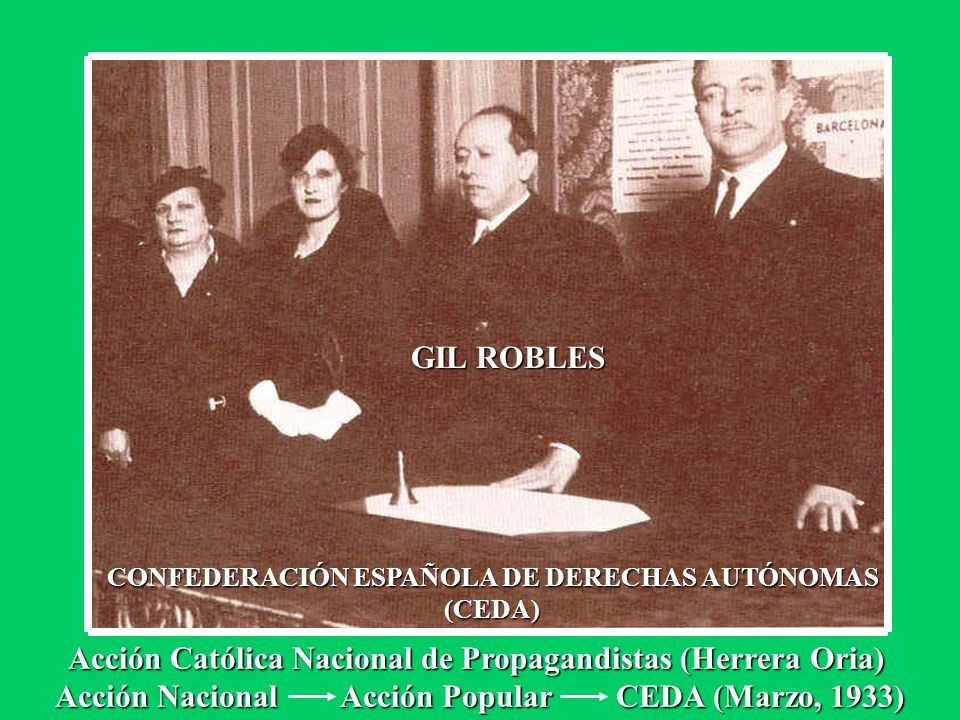 GIL ROBLES CONFEDERACIÓN ESPAÑOLA DE DERECHAS AUTÓNOMAS (CEDA) Acción Católica Nacional de Propagandistas (Herrera Oria) Acción Nacional Acción Popula