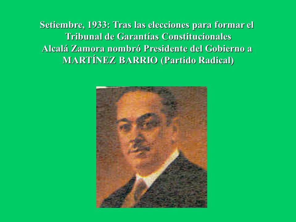 Setiembre, 1933: Tras las elecciones para formar el Tribunal de Garantías Constitucionales Alcalá Zamora nombró Presidente del Gobierno a MARTÍNEZ BAR