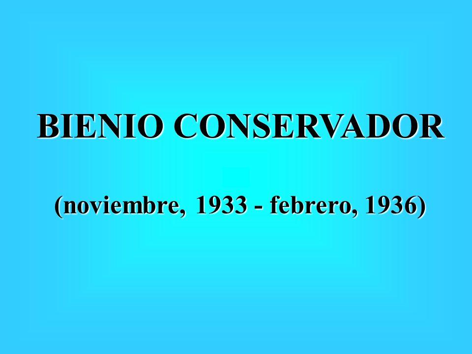 BIENIO CONSERVADOR (noviembre, 1933 - febrero, 1936)