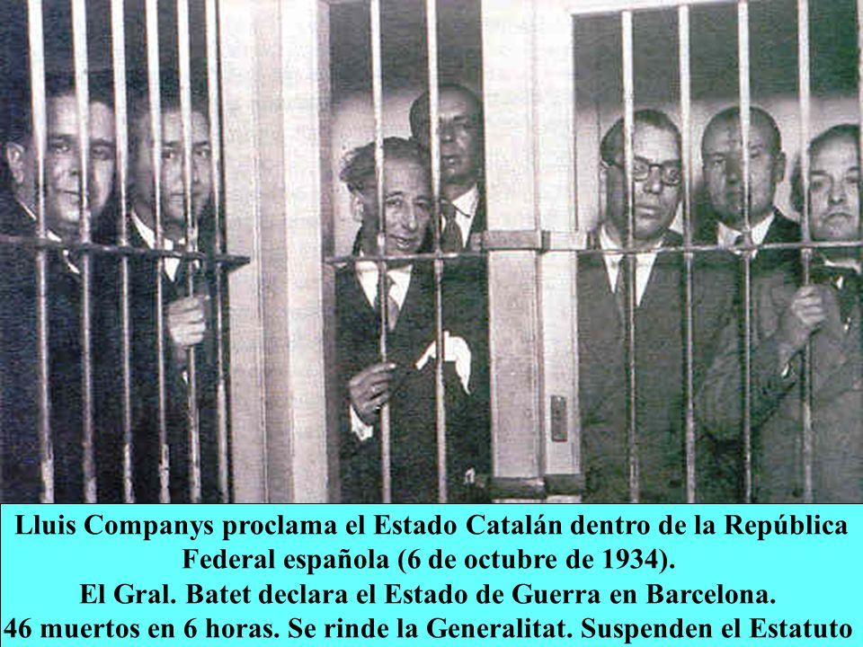 Lluis Companys proclama el Estado Catalán dentro de la República Federal española (6 de octubre de 1934). El Gral. Batet declara el Estado de Guerra e