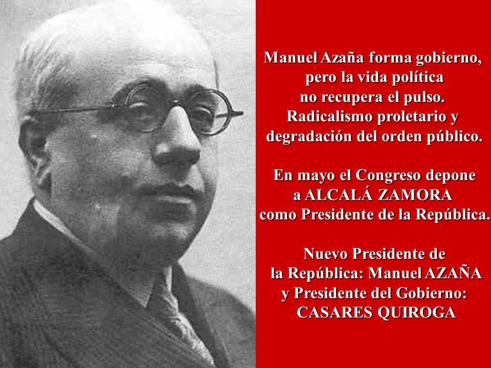 Manuel Azaña forma gobierno, pero la vida política no recupera el pulso. Radicalismo proletario y degradación del orden público. En mayo el Congreso d