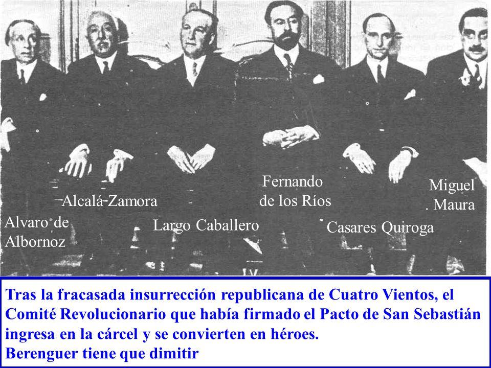 Tras la fracasada insurrección republicana de Cuatro Vientos, el Comité Revolucionario que había firmado el Pacto de San Sebastián ingresa en la cárce