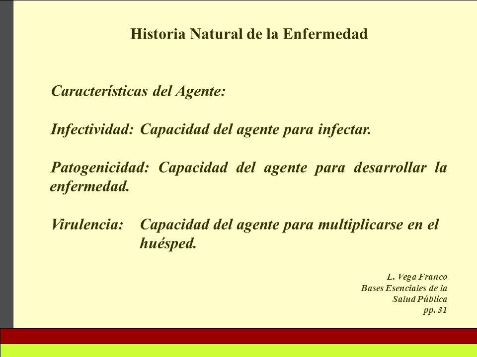 Historia Natural de la Enfermedad Características del Agente: Infectividad: Capacidad del agente para infectar. Patogenicidad: Capacidad del agente pa