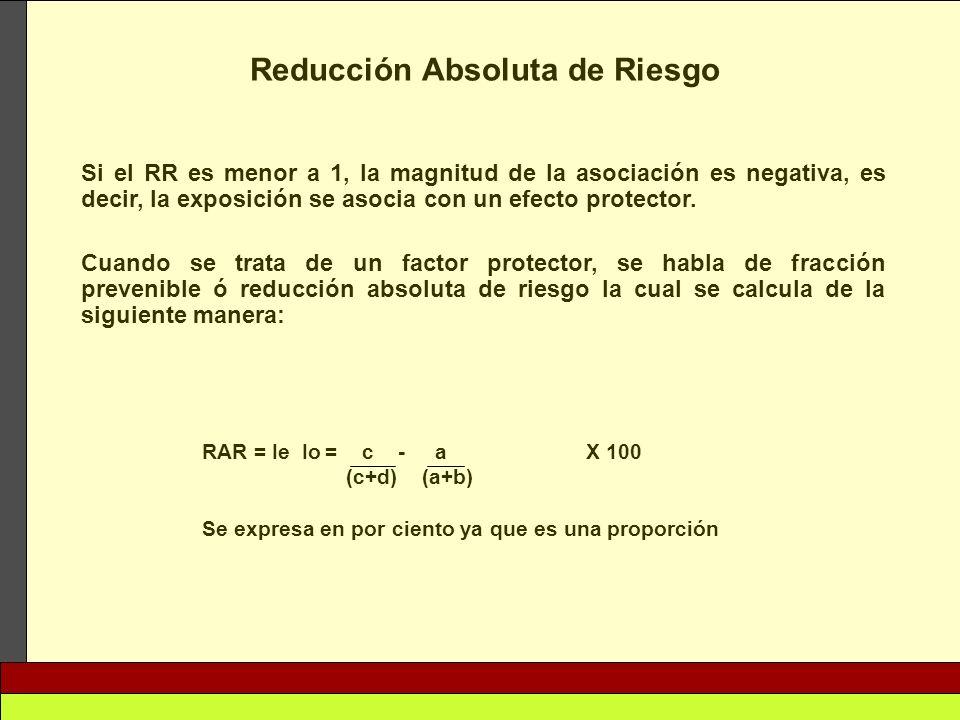 Reducción Absoluta de Riesgo Si el RR es menor a 1, la magnitud de la asociación es negativa, es decir, la exposición se asocia con un efecto protecto