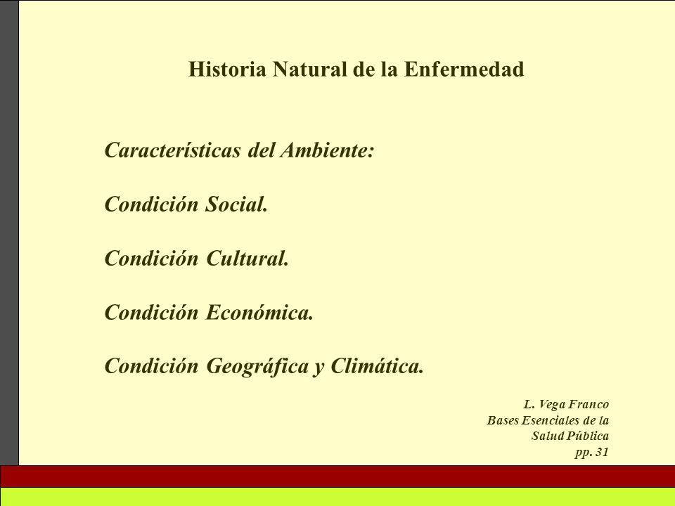 Historia Natural de la Enfermedad Características del Ambiente: Condición Social. Condición Cultural. Condición Económica. Condición Geográfica y Clim
