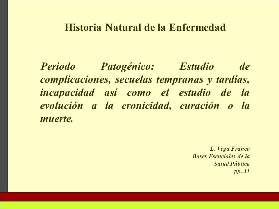 Historia Natural de la Enfermedad Periodo Patogénico: Estudio de complicaciones, secuelas tempranas y tardías, incapacidad así como el estudio de la e