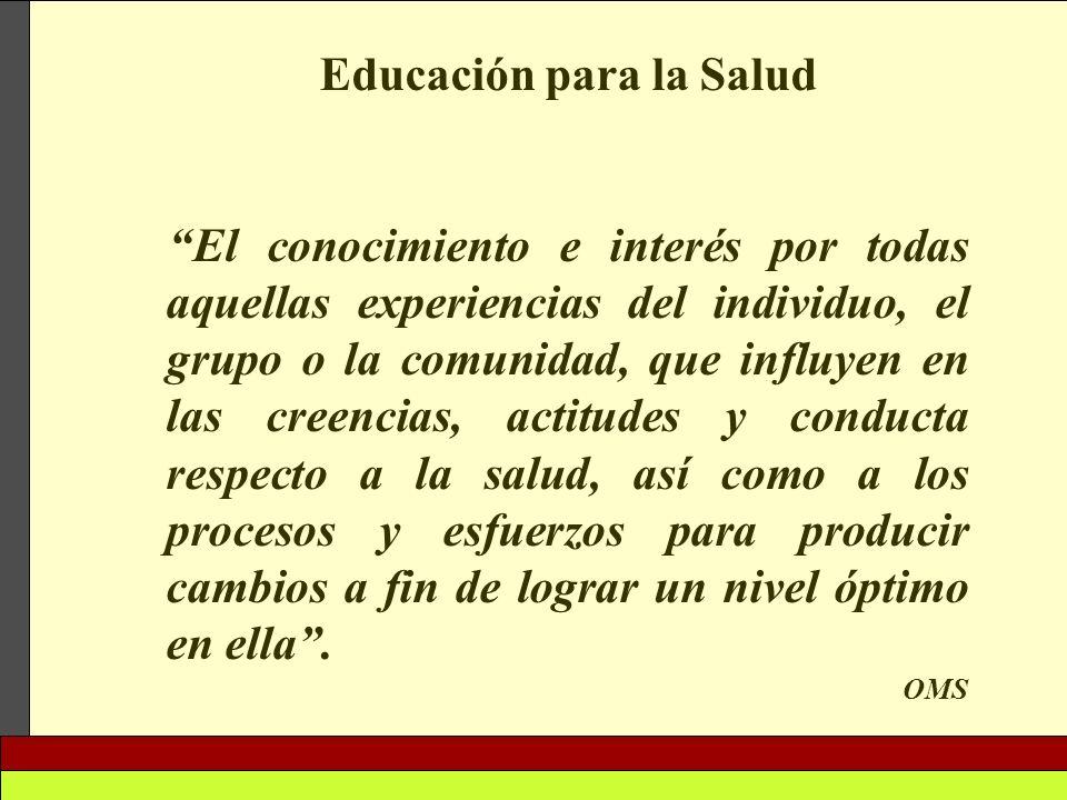 Educación para la Salud El conocimiento e interés por todas aquellas experiencias del individuo, el grupo o la comunidad, que influyen en las creencia