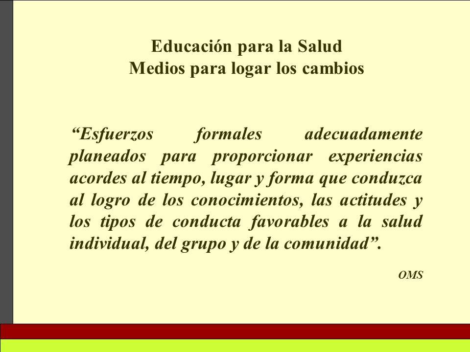 Educación para la Salud Medios para logar los cambios Esfuerzos formales adecuadamente planeados para proporcionar experiencias acordes al tiempo, lug