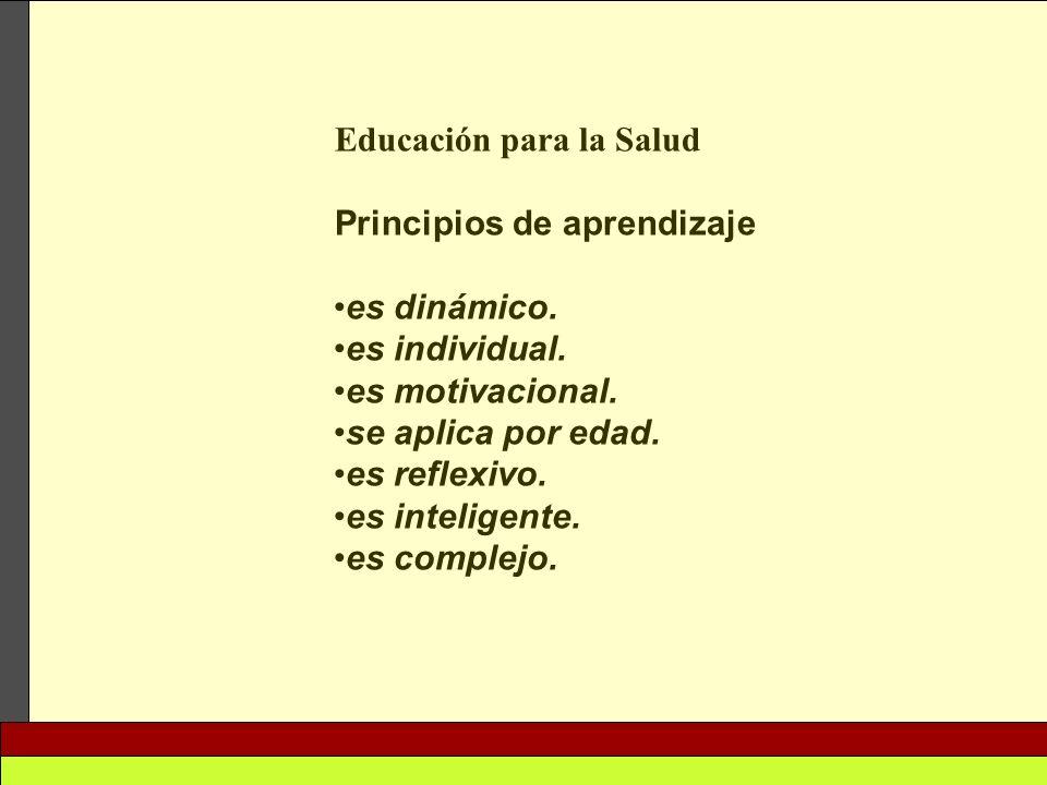 Educación para la Salud Principios de aprendizaje es dinámico. es individual. es motivacional. se aplica por edad. es reflexivo. es inteligente. es co