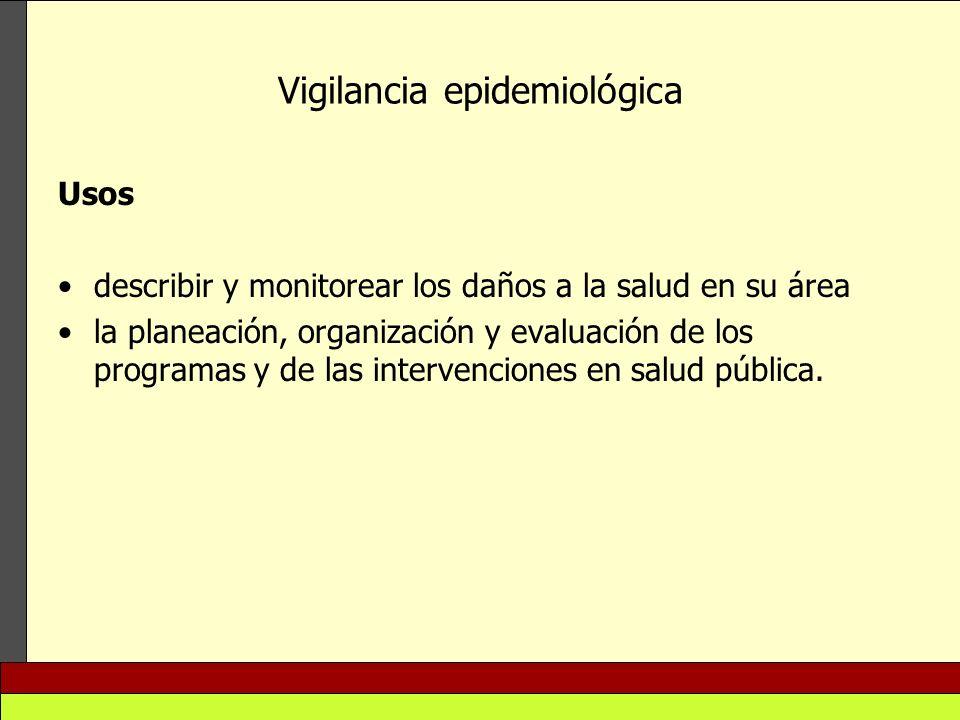 Vigilancia epidemiológica Usos describir y monitorear los daños a la salud en su área la planeación, organización y evaluación de los programas y de l
