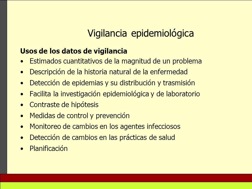 Vigilancia epidemiológica Usos de los datos de vigilancia Estimados cuantitativos de la magnitud de un problema Descripción de la historia natural de