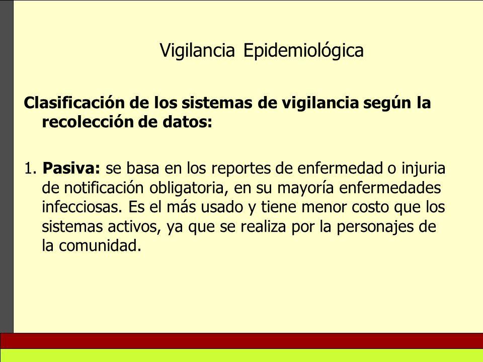 Vigilancia Epidemiológica Clasificación de los sistemas de vigilancia según la recolección de datos: 1. Pasiva: se basa en los reportes de enfermedad