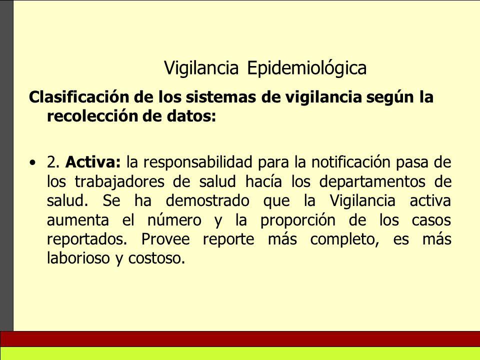 Vigilancia Epidemiológica Clasificación de los sistemas de vigilancia según la recolección de datos: 2. Activa: la responsabilidad para la notificació