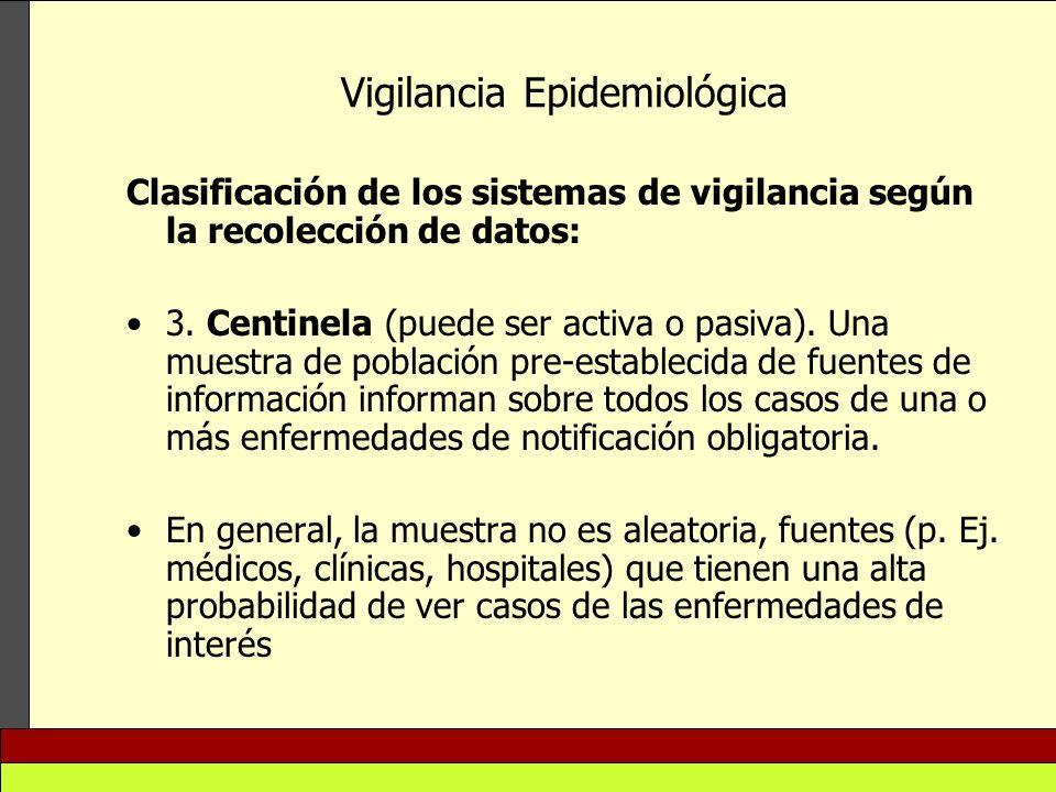 Vigilancia Epidemiológica Clasificación de los sistemas de vigilancia según la recolección de datos: 3. Centinela (puede ser activa o pasiva). Una mue