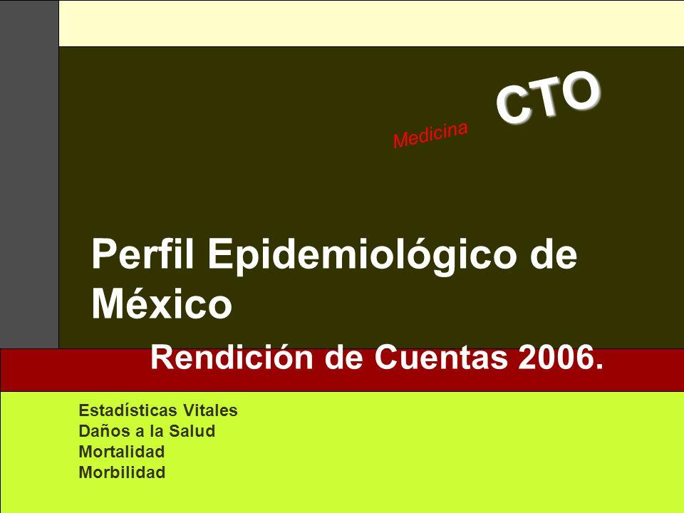 CTO Medicina CTO Perfil Epidemiológico de México Rendición de Cuentas 2006. Estadísticas Vitales Daños a la Salud Mortalidad Morbilidad